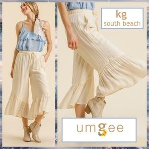 Umgee Ruffled Hem Wide Leg High Waist Pant W/Lace